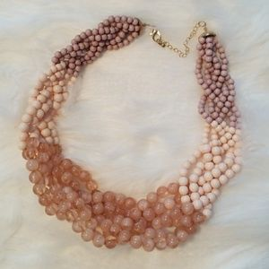 Pink ombre beaded statement necklace NWOT